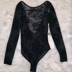Black Floral Bodysuit